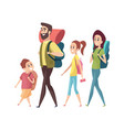 hiking mom dad daughter son with backpacks vector image vector image