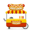 hot dog street food cart colorful image vector image
