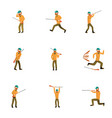hunter man icon set cartoon style vector image vector image