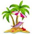 island with seat and umbrella vector image vector image