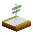 Isolated isometric green road sign design vector image