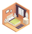 isometric bedroom interior design vector image