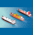 isometric cargo ship container lng carrier ship vector image