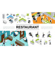 isometric restaurant elements collection vector image