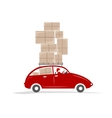 Man driving red car with boxes on the roof rack vector image