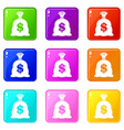 money bag with us dollar sign set 9 vector image vector image