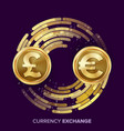 money currency exchange gbp euro golden vector image