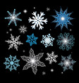 new year set different snowflakes vector image vector image