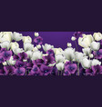 purple flowers banner duotone retro floral vector image