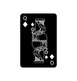 queen of diamonds or tiles french playing cards vector image vector image