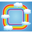 rainbow and clouds in sky vector image vector image