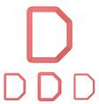 Red line d logo design set vector image vector image
