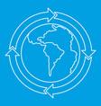 round arrows around world planet icon vector image