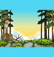 scene with boy standing on log vector image vector image