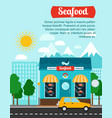 seafood advertising banner with shop building vector image vector image