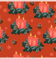 seamless pattern with christmas candles on a red vector image