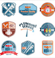 Set of retro vintage badges and labels Plumbing vector image vector image