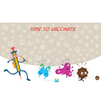 Syringe Run to Vaccinate Germ Characters vector image vector image