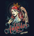 tattoo fest in los angeles poster vector image vector image