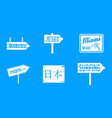welcome board icon blue set vector image vector image
