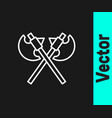 white line crossed medieval axes icon isolated on vector image vector image