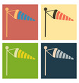 wind speed flag line icon on color background vector image vector image