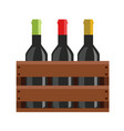 wine bottles in a wooden crate isolated vector image