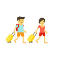 woman and man go on vacation couple tourists vector image