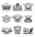 baseball logos set in style vector image