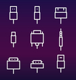 Cable wire computer and plug icons set vector image
