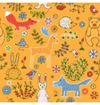 Seamless pattern of animals in the forest vector image