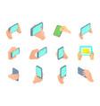 smartphone in hand icon set cartoon style vector image