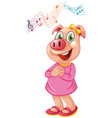 a pig female character vector image vector image