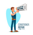 air conditioner repair worker young happy vector image vector image