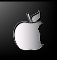 bited apple sign gray 3d printed icon on vector image vector image