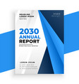 blue annual report brochure business layout design vector image vector image