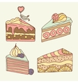 cake set 4 hand drawn vector image