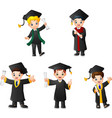 cartoon kid in graduation costumes with different vector image vector image