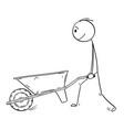 cartoon of man pushing empty wheelbarrow vector image