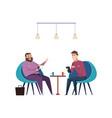 colleagues on coffee break businessmen drink hot vector image vector image