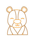color line adorable and shy bear wild animal vector image vector image