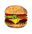 Colored hand sketch hamburger vector image
