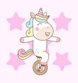 cute unicorn ride mono cycle ready for print vector image vector image