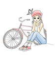 Cute young girl in pink hat with a bicycle vector image