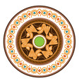 decorative plate with round ornament in ethnic vector image vector image