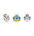 dia de los muertos logo set traditional festival vector image