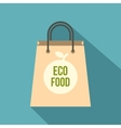 Eco food paper bag icon flat style