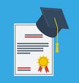 graduation cap and paper graduation award vector image