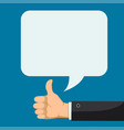 hand with thumbs up feedback speech bubble vector image vector image
