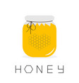 honey jar pot icon honeycomb set in shape of vector image
